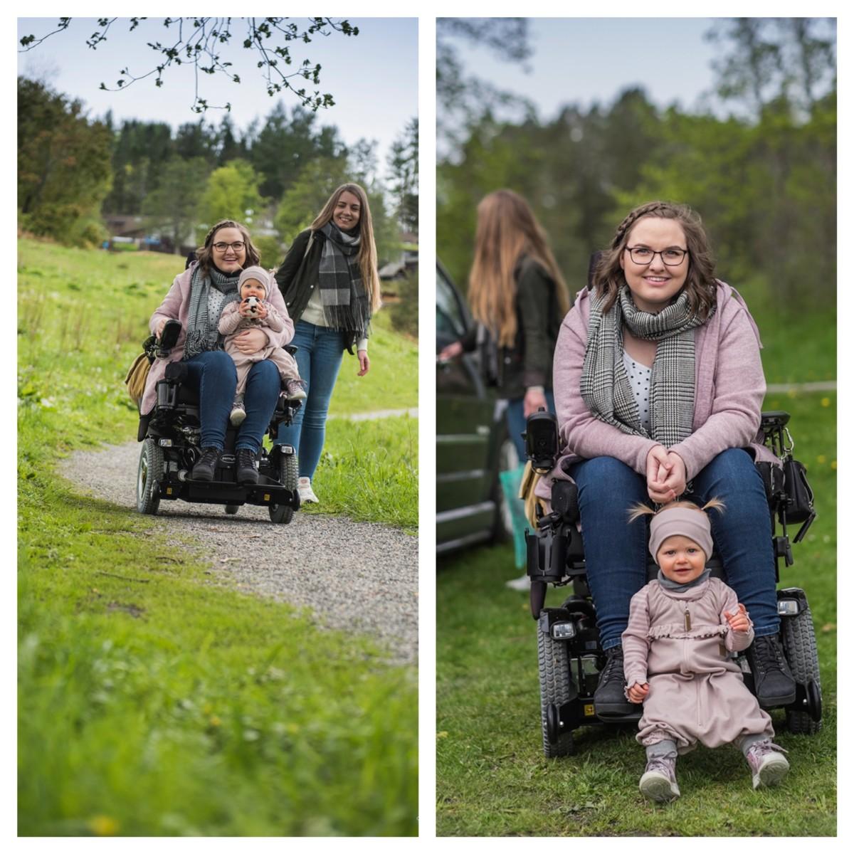 Bildekollasj bestående av to bilder. På bildet til venstre kjører artikkelforfatter ned en sti i rullestol med datteren på fanget. Assistenten går ved siden av dem. På bildet til høyre kikker artikkelforfatter inn i kameraet med datteren sittende ved beina sine. I bakgrunnen åpner assistenten en bildør.